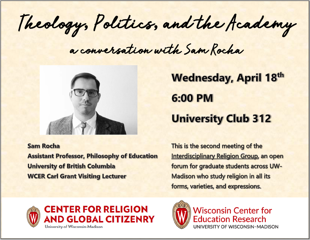 A poster for the Theology, politics, and the academy event