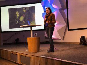 Katherine Hayhoe speaking at UpperHouse, April 2019